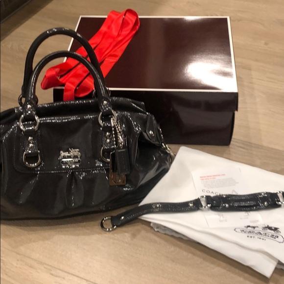 Coach Handbags - Coach Madison Patent Sabrina Graphite Satchel/Hobo